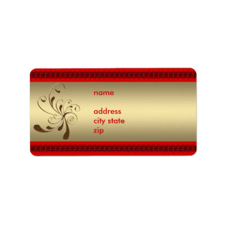 Label Address Gold Floral with Red Trim Address Label
