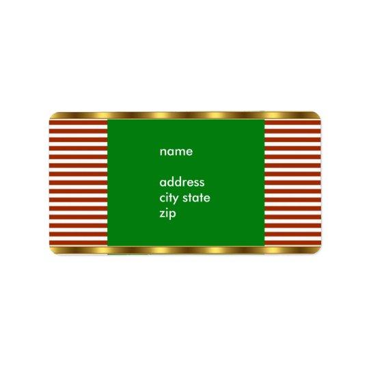 Label Address Red White Stripe Gold Trim