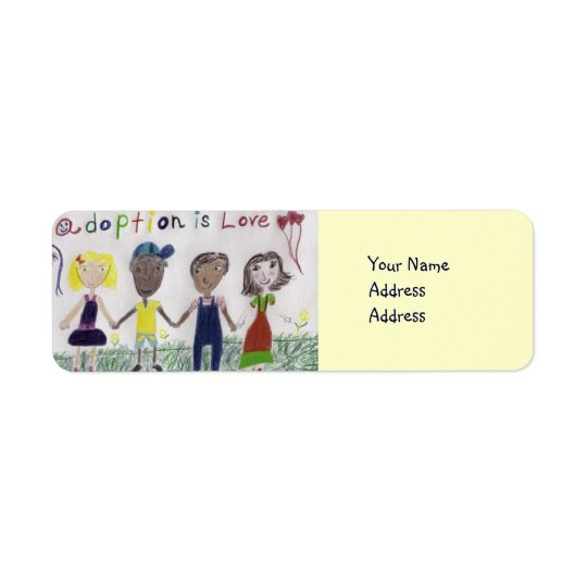 Label, Adoption Is Love Drawing Return Address Label