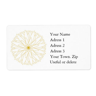 Label Adress Complete Large, white, gold Shipping Label