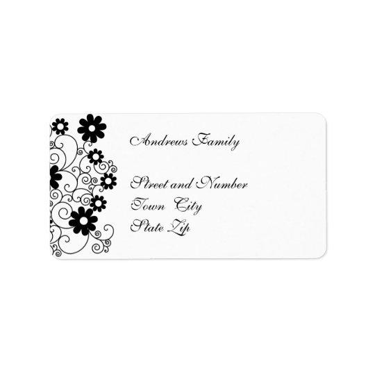 Label Black & White Simple Floral Address Label