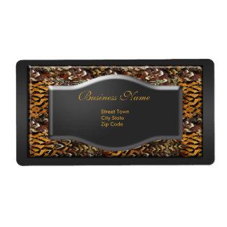Label Business Elegant Animal Print Black Gold Shipping Label