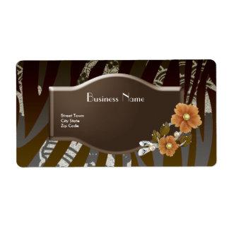 Label Business Elegant Asian Black Brown Floral 2 Shipping Label