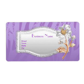 Label Business Elegant Asian Purple Silver Floral Shipping Label
