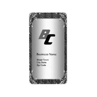 Label Business Elegant Black Silver Zebra Elite 2 Address Label
