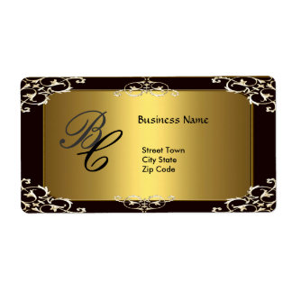 Label Business Elegant Elegant Black Gold Elite Shipping Label