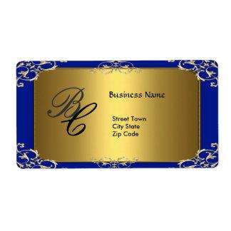 Label Business Elegant Elegant Blue Gold Elite Shipping Label