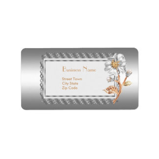 Label Business Elegant Silver Floral Jewel Address Label