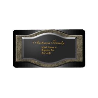 Label Business Elegant Stone Black Gold Address Label