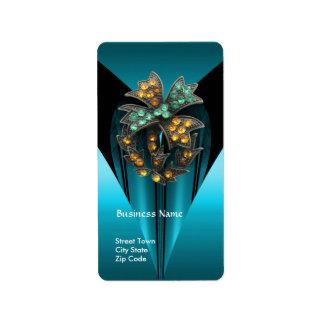 Label Business Elegant Teal Antique Jewel Address Label