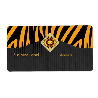 Label Business Elegant Wild Yellow Gold Black Shipping Label