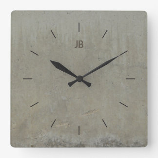 LABEL CONCRETE SMOOTH | industrial decor Square Wall Clock