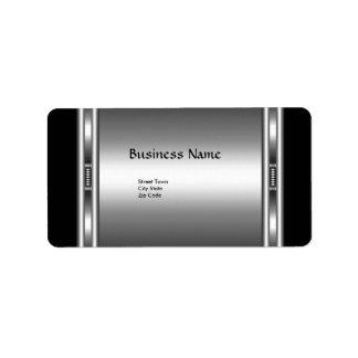 Label Elegant Black Silver Elite Chrome Business Address Label