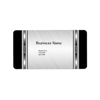 Label Elegant Black White Silver Elite Business Address Label