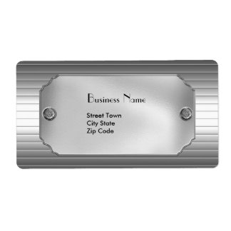 Label Elegant Business Metal Chrome Shipping Label