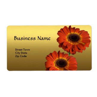 Label Elegant Personal Business Gold Orange Flower Shipping Label