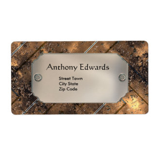 Label Elegant Personal Business Rusty Metal Shipping Label