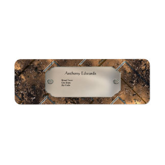 Label Elegant Personal Business Rusty Metal 2 Return Address Label