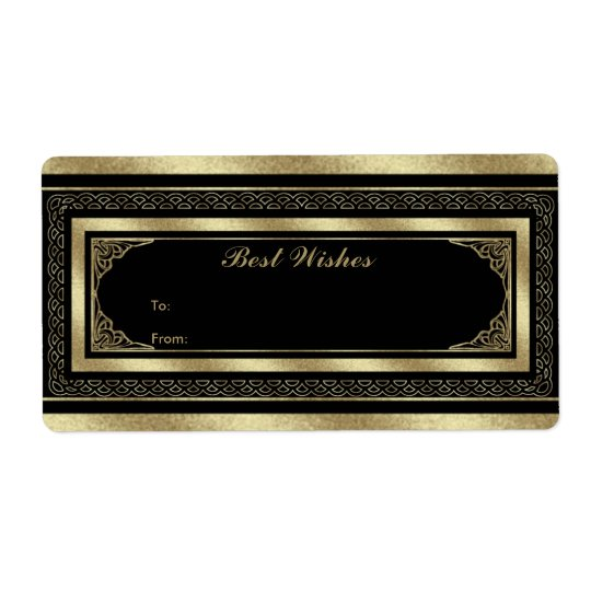 Label Gift Tag Brocade Black Gold