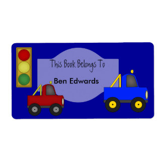 Label Kids Book Labels Stickers Large Size Trucks
