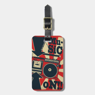 """Label of luggage """"Music On """" Luggage Tag"""