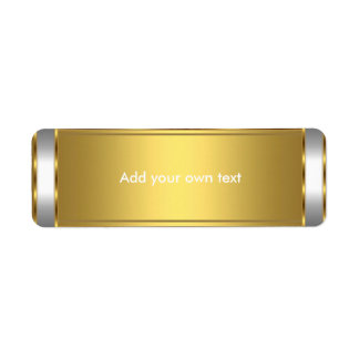 Label Sticker White with Gold Return Address Label
