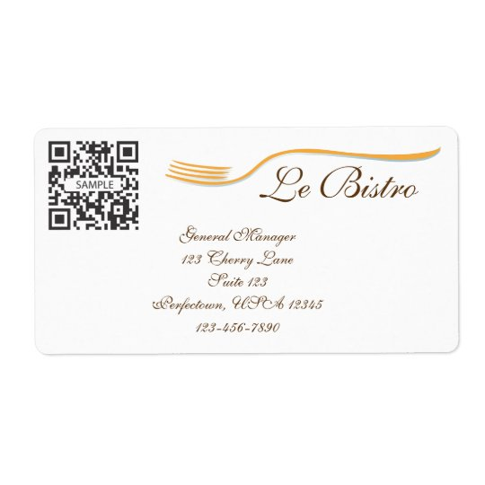 Label Template Fine Dining French Shipping Label