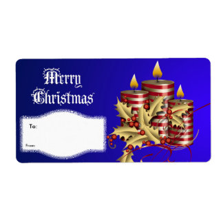 Label Xmas Gift Christmas Blue Red Candles Shipping Label