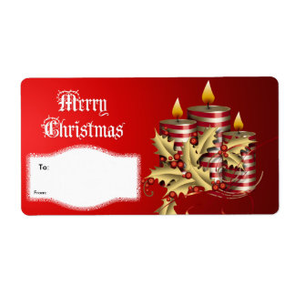 Label Xmas Gift Christmas Red Candles Shipping Label