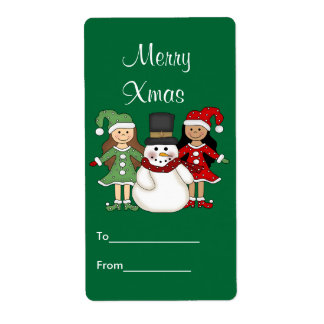 Label Xmas Gift Sticker Tags Christmas Large Size Personalized Shipping Label