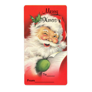 Label Xmas Gift Sticker Tags Christmas Vintage San Personalized Shipping Label