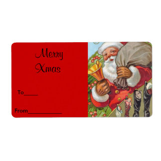 Label Xmas Gift Sticker Tags Christmas Vintage San Shipping Label