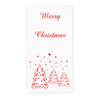 Labels Christmas Landscape Red-Own Color