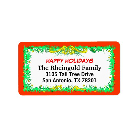 Labels - Christmas -Red Border Family Label