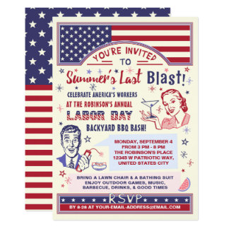 Labor Day BBQ Party | Retro Patriotic Summer Blast Card