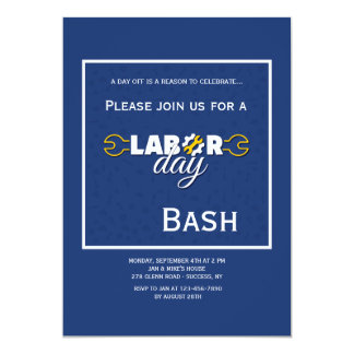 Labor Day Blue Invitation
