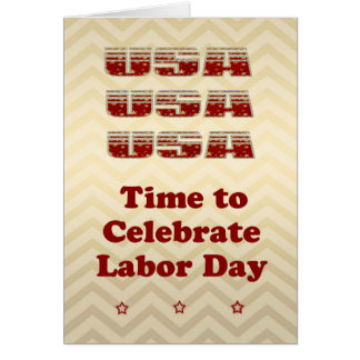Labor Day Card that Glitters in Gold, Red & Silver
