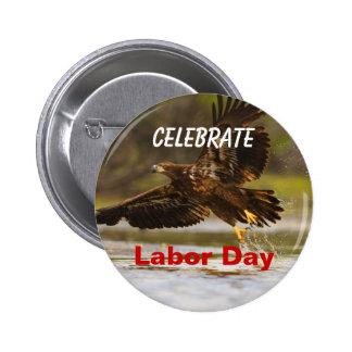 Labor Day, Celebrate, Eagle Splash Button