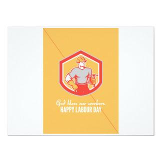 Labor Day Greeting Card Builder Carpenter Hammer S 17 Cm X 22 Cm Invitation Card
