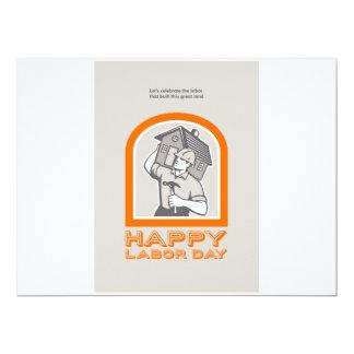 Labor Day Greeting Card Builder Construction  Hamm 17 Cm X 22 Cm Invitation Card