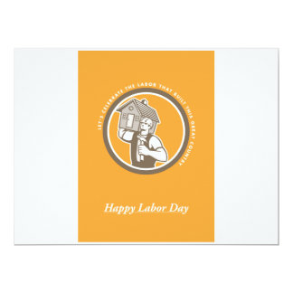 Labor Day Greeting Card Builder Hammer House Circl 17 Cm X 22 Cm Invitation Card