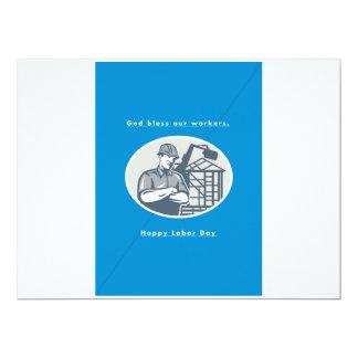 Labor Day Greeting Card Builder Houseframe Crane 17 Cm X 22 Cm Invitation Card