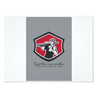 Labor Day Greeting Card Carpenter Lumber Thumbs Up 17 Cm X 22 Cm Invitation Card