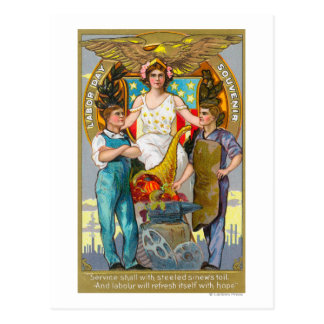 Labor Day Souvenir Laborers with Lady Justice Postcard