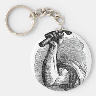 Labor Hand Holding Hammer Basic Round Button Key Ring