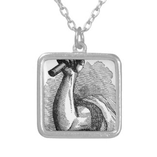 Labor Hand Holding Hammer Silver Plated Necklace