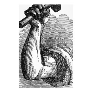 Labor Hand Holding Hammer Stationery