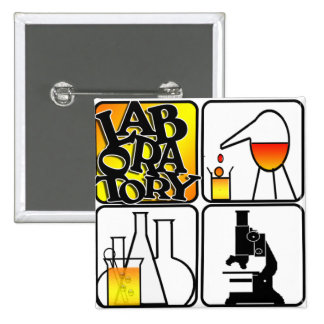 LABORATORY 4 SQUARE - BEAKERS / MICROSCOPE 15 CM SQUARE BADGE