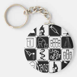 LABORATORY SCIENTIST SYMBOLS AND TOOLS BASIC ROUND BUTTON KEY RING