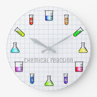 Laboratory Test Tubes Chemistry Lab Work Science Large Clock